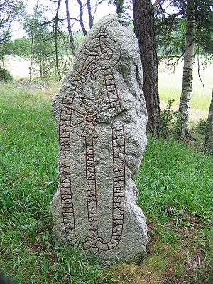 Cnut the Great - This runestone, U 194, in memory of a Viking known as Alli, says he won Knútr's payment in England.