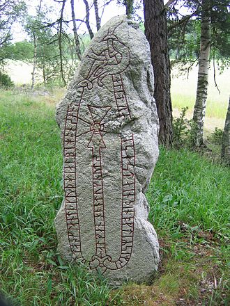 Danegeld - The runestone U 194, in a grove near Väsby, Uppland, Sweden, was raised by a Viking in commemoration of his receiving one danegeld in England.