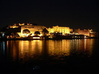 City Palace, Udaipur - Panoramic view the Udaipur City Palace Complex at night