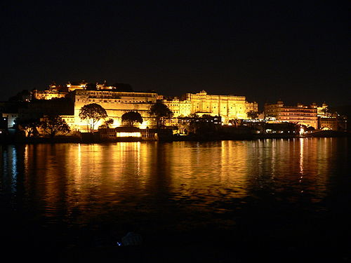 A panoramic view of Udaipur City Palace in night.