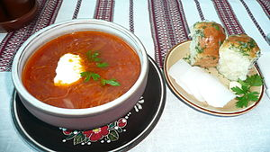 Pampushka - Image: Ukrainian Borsch with Pampushky in Zaporizhia