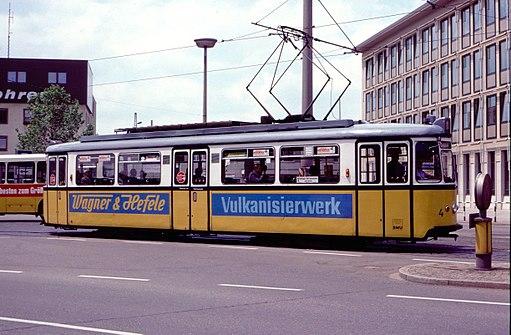Ulm 1958-built tram 4 (Großraumwagen) at Hbf in 1985