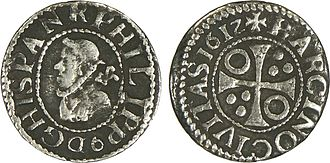 Philip III of Spain Un demi croat a l'effigie de Philippe III.jpg