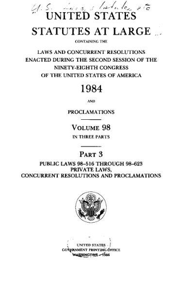 File:United States Statutes at Large Volume 98 Part 3.djvu