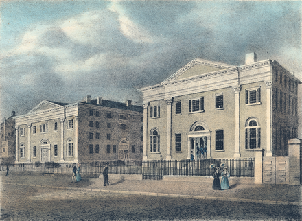 Perelman School of Medicine, the oldest medical school in the United States University of Pennsylvania Medical Hall and College Hall 1842.png