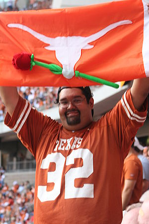 A Texas fan looks ahead to the Rose Bowl durin...