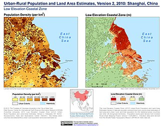 Population density and low elevation coastal zones in the Shanghai area. Shanghai is particularly vulnerable to sea level rise. Urban-Rural Population and Land Area Estimates, v2, 2010 Shanghai, China (13874137394).jpg