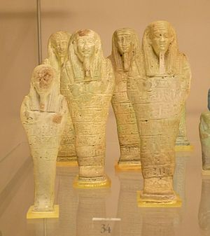 Letopolis - Five faience ushabti of Ankh-hapi, a priest in Letopolis during the Ptolemaic dynasty. Bologna, Museo Civico Archeologico
