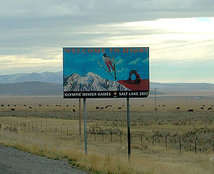 Utah state welcome sign, along Interstate 84, ...
