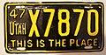 Utah 1947 license plate - Number X7870.jpg