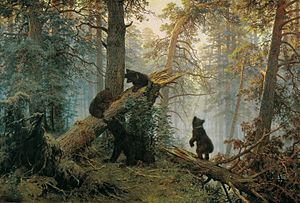 Peredvizhniki - Ivan Shishkin and Konstantin Savitsky, Morning in a Pine Forest, 1878