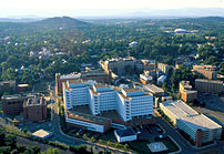 Aerial view of UVA Health System campus in Cha...