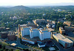 Charlottesville skyline with the University of Virginia Health System in the foreground