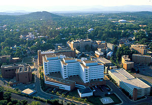 Charlottesville, Virginia - Charlottesville skyline with the University of Virginia Health System in the foreground