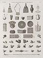 Vases, meubles et instrumens. 1-6. Vases; 7-16. Paniers et ouvrages en feuilles de palmier; 17.18. Lanterne; 19-42. Sygy (jeu), ouvrages en peau, pipes (NYPL b14212718-1268868).jpg