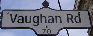 Vaughan Road - A newer-style Vaughan Road street sign in the Old Toronto segment.
