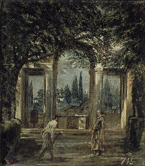Velázquez - Jardín de la Villa Médicis en Roma, Pabellón de Ariadna (Museo del Prado, 1630).jpg