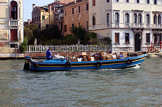 Package delivery - United Parcel Service (UPS) boat in Venice, Italy