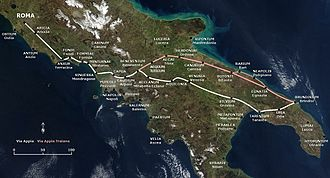 Appian Way - The path of the Via Appia and of the Via Appia Traiana