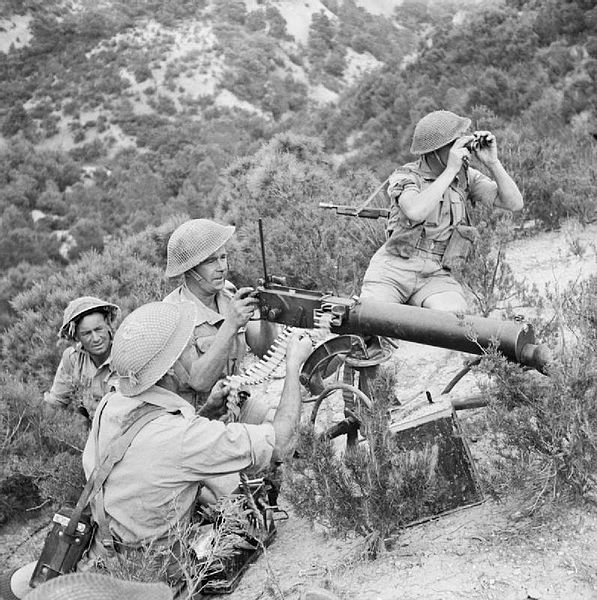 File:Vickers machine gun team of 10th Battalion The Rifle Brigade, training near Bou Arada, Tunisia, 30 April 1943. NA2407.jpg