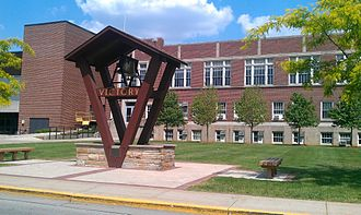 Valparaiso Crusaders - Victory Bell in front of the old Hilltop Gym and ARC