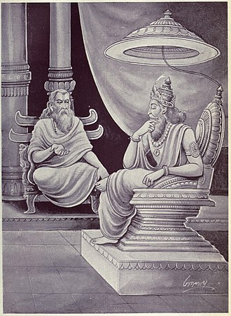 Udyoga Parva - Sage Vidura counsels Dhritarashtra (shown above) on leadership and characteristics of wise people. Vidura seeks to prevent war by urging evil king Dhritarashtra to reconsider his behavior and actions against Pandava brothers.