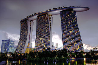 Marina Bay Sands - View of the 3 main towers, inspired by decks of cards