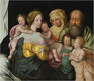 Vincent Sellaer - Image: Vincent Sellaer The Madonna and Child with Saints Elizabeth and other Members of the Holy Family