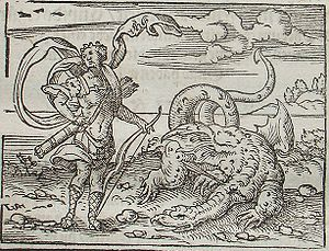 Python (mythology) - Apollo killing Python. A 1581 engraving by Virgil Solis for Ovid's Metamorphoses, Book I.