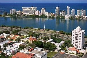 Miramar (Santurce) - View from Miramar across the lagoon towards Condado