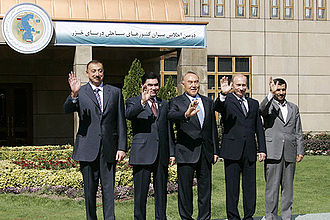 Mahmoud Ahmadinejad - Participants of the second Caspian Summit in October 2007. From left to right: President of Azerbaijan Ilham Aliev, President of Turkmenistan Gurbanguly Berdymukhammedov, President of Kazakhstan Nursultan Nazarbaev, President of Russia Vladimir Putin and President of Iran Mahmoud Ahmadinejad.