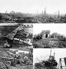 A montage of black and white photography from World War I. Clockwise from top: Trenches on the Western Front; a British Mark V Tank crossing a trench; Royal Navy battleship HMS Irresistible sinking after striking a mine at the Battle of the Dardanelles; a Vickers machine gun crew with gas masks; and German Albatros D.III biplanes