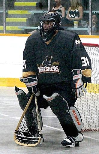 Goaltender (box lacrosse) - National Lacrosse League goalie Tye Belanger in Summer 2015.