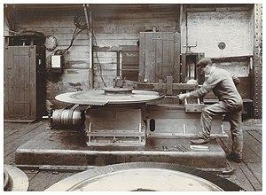 Wallsend Slipway & Engineering Company - Image: Wallsend Slipway Worker Operating Turbine Blading Machine