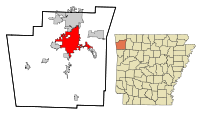 Washington County Arkansas Incorporated and Unincorporated areas Fayetteville Highlighted.svg