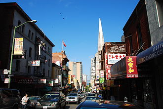 Chinatown, San Francisco - Washington Street in Chinatown with Transamerica Pyramid in the background.