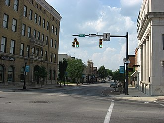 Tiffin, Ohio - Buildings on Washington Street (State Route 100) in downtown Tiffin, seen from the Perry Street intersection.