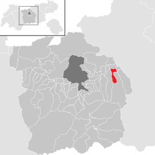 Location of the municipality of Wattens in the Innsbruck-Land district (clickable map)