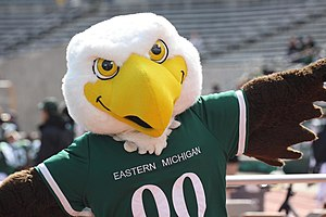 "Swoop (Eastern Michigan University) - ""Swoop"", the EMU mascot, at the 2010 homecoming football game against the Ohio Bobcats."
