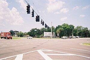 Weeki Wachee, Florida - US 19, SR 50 and CR 550 intersect at Weeki Wachee Springs and Buccaneer Bay.