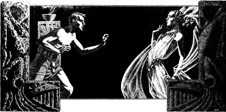 A man in a loin-cloth standing on the left leans in towards a woman in a flowing dress standing on the right, framed by stone carvings on either side, against a black background