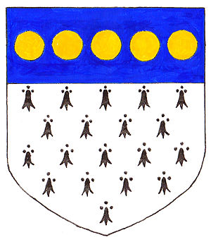 Francis Weston - Arms of Weston: Ermine, on a chief azure 5 bezants