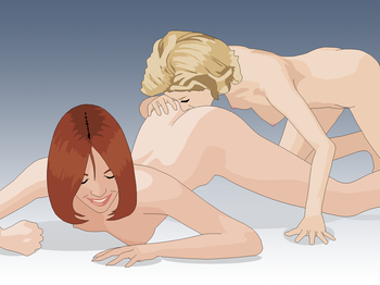 English: A woman performing anilingus with ano...
