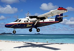De Havilland Canada DHC-6 Twin Otter - A Winair DHC-6 Twin Otter landing at St Barthelemy Gustaf III Airport.