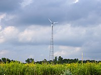 Small-scale wind power in rural Indiana.