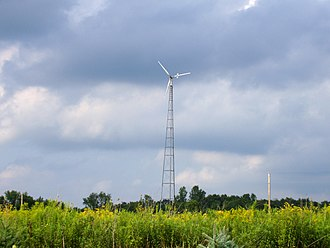 Small wind turbine - A small-scale wind tower in rural Indiana, United States