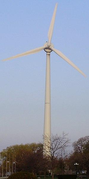 WindShare - The Toronto WindShare ExPlace turbine viewed straight on, its blades facing east.