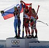 Women's downhill podium