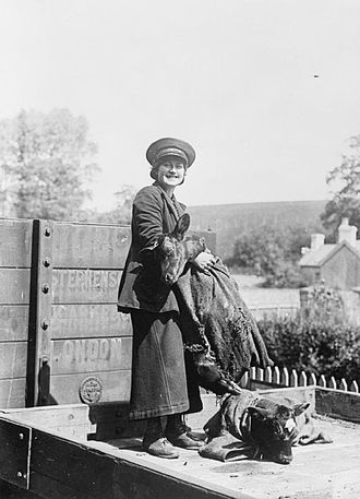 Porter (railroad) - A female railway porter on the South Eastern and Chatham Railway.