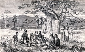 Music of Zimbabwe - Mbira player with other musicians from 1865 book